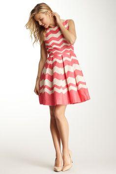 Taylor Zigzag Sleeveless Fit n Flare Dress