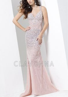 Sheath V Neck Prom Dresses With Beading Canada 1510336