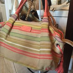 Kate Spade Brightly colored striped canvas bag!! Excellent condition!! Great for satchel or small diaper bad, great for spring kate spade Bags Satchels
