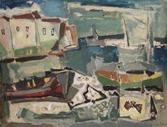 Σπθρόπουλος Γιάννης-1912-1990,An island port- Greek Islands, Paintings, Roots, Landscapes, Pintura, Abstract, Greek Isles, Paisajes, Scenery