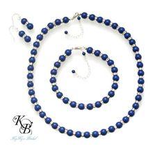 Something Blue Jewelry, Blue Jewelry Sets, Pearl Jewelry Set, Bridesmaid Jewelry Set, Bridal Jewelry Set, Blue Necklace, Blue Bracelet | KyKy's Bridal, Handmade Bridal Jewelry, Wedding Jewelry #wedding #bride #somethingblue #jewelryset #love