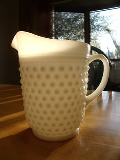 Vintage Milk Glass Hobnail Pitcher by SheilasBlessings on Etsy, $10.00