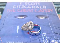 """Wedding Rings on a Copy of """"The Great Gatsby"""" Book (Amore Wedding Photography) Great Gatsby Themed Wedding, Art Deco Wedding, Wedding Blog, Dream Wedding, Gatsby Party, Wedding Stuff, Wedding Photos, Wedding Ideas, Perfect Engagement Ring"""