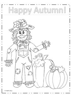 Printable Scarecrow Coloring Page Awesome Happy Autumn Scarecrow Coloring Page Love My Big Happy Family Pumpkin Coloring Pages, Fall Coloring Pages, Free Adult Coloring Pages, Free Printable Coloring Pages, Coloring Sheets, Coloring Books, Scarecrow Crafts, Fall Scarecrows, Scarecrow Ideas