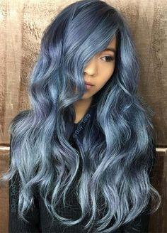 Blue Denim Hair Colors: Frost Tip Ombre #denimhair #bluehair
