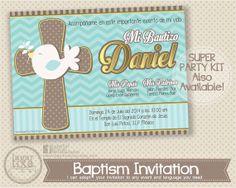 Invitacion Imprimible Espiritu Santo Bautizo por LagartixaShop, $10.00 #baptism #invitations #bautizo
