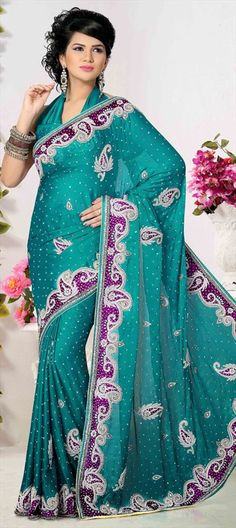 173015 Blue  color family Bridal Wedding Sarees in Faux Chiffon, Satin fabric with Border, Cut Dana, Patch, Stone, Valvet work   with matching unstitched blouse.