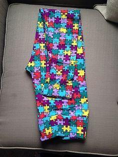 LuLaRoe TC Puzzle Piece Leggings Tall Curvy Multi Color