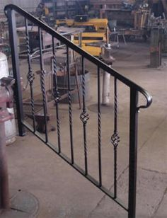 simple, elegant wrought iron railing, no pickets, cast iron scroll ...
