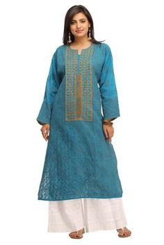 Blue embroidered cotton ethnic-kurtis    Blue Kurtis, blue color kurtis, royal blue colour kurtis, blue Kurtis online, blue kurti Ethnic Kurti, Kurtis, Royal Blue, Shops, Tunic Tops, Colour, Clothes For Women, Awesome, Cotton