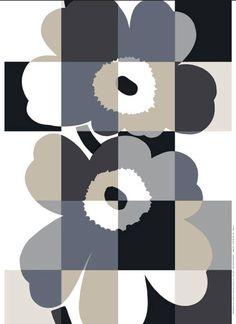 Iso Ruutu-Unikko HW cotton fabric by Marimekko Textile Patterns, Textile Design, Fabric Design, Print Patterns, Floral Patterns, Marimekko Fabric, Scandinavia Design, African Textiles, Illustration