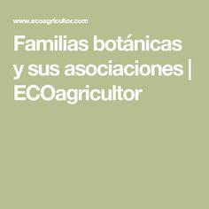 Familias botánicas y sus asociaciones | ECOagricultor