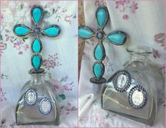 $118 Big JEWELED MIRACULOUS MEDAL Mother Mary Virgin Altar Shrine Holy Water Decorative Turquoise Rhinestone Embellished Glass Metal Cross Bottle