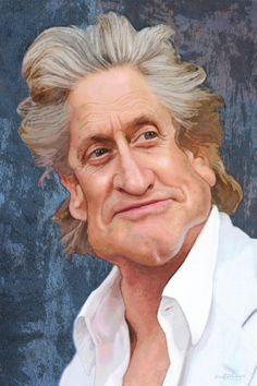 Gordon Gekko (Michael Douglas) - 1987 Wall Street / caricature of movie stars Funny Caricatures, Celebrity Caricatures, Celebrity Drawings, Caricature Artist, Caricature Drawing, Drawing Art, Cartoon Faces, Funny Faces, Celebs