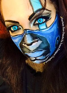 "Mortal Kombat Sub Zero Girl Version Fantasy Face Paints by Luna Designs Creations "" Let Luna Create A Beautiful Work of Art For You or On You"" #LoveMyLuna #Subzero #mortalkombat #fantasyfacepaint #facepaint #faceart #bodyart #bodypaint #bodyartists #bodypainting #makeup #makeupartist #halloweenmakeup #halloween #Lunadesignscreations"