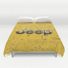 muddy yellow Jeep with chrome typograph Duvet Cover @society6 #duvetcover  #jeep #landrover #logo #car #offroad #wrangler #toyota