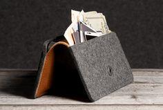 wool felt phone holder and wallet