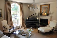 Classic Chic Home: A Passion for Baby Grand Pianos Piano Living Rooms, Living Room Seating, New Living Room, Formal Living Rooms, Living Room Furniture, Small Living, Dining Room, Grand Piano Room, Baby Grand Pianos