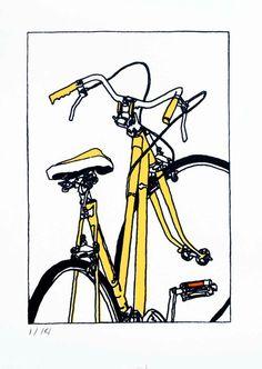Bicycle Art Print  Jeanine's Bike Yellow by bicyclepaintings, $30.00
