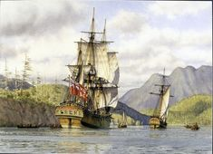 Prince of Wales & Princess Royal at Port Brooks, 1787 - Mark Myers 1945 b. Watercolor on paper - Blue World Web Museum