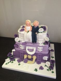 Lilac Suitcase Wedding Cake by Victoria Defty Couture Cakes! Couture Cakes, Lilac, Suitcase, Wedding Cakes, Victoria, Desserts, Food, Wedding Gown Cakes, Meal