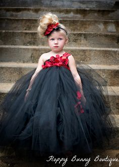 Black and Red Tutu Dress: Flower Girl by FloppyBunnyBoutique