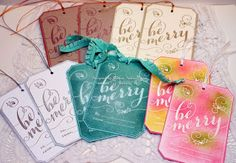 Stampin' Up! Be Merry handmade Christmas tags