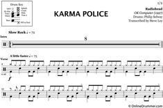 Karma Police Radiohead Drum Sheet Music Onlinedrummer Com Sheet Music Drums Sheet Music