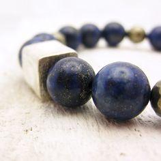 """""""Dream of Stars in the Night Sky"""" Lapis Lazuli & Pyrite Beaded Bracelet @byjodi"""