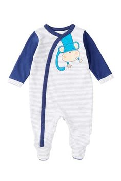 Monkey Cotton Footie (Baby Boys)