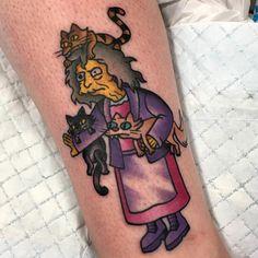 The Simpsons tattoo - crazy cat lady tattoo - Character & Fandom Tattoos - - Tattoo recipes - Tattoo Character, Cat Character, Crazy Cat Lady, Crazy Cats, Bubble Cat, Fandom Tattoos, Cat Tattoo, Tattoo Ink, Simpsons Tattoo