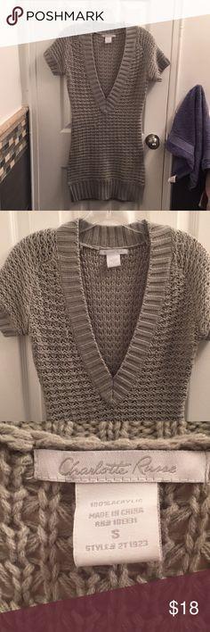 Charlotte Russe V Neck Sweater Gently used, like new, v neck cable knit sweater Charlotte Russe Sweaters V-Necks
