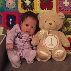 Can't believe she's one month old today! Already up 1 pound 7 oz in size 1 diapers 0-3 months clothes and is really getting her personality!! Love you Arianna Corinne!! by coachingwithcara