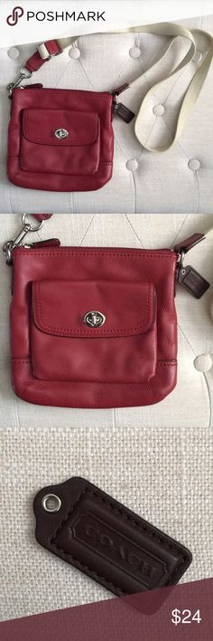 👜 Coach Cross Body Purse Red Coach Cross Body Purse. Dark Red. Lost the little chain that connects the Coach leather logo for outside. Coach Bags Crossbody Bags