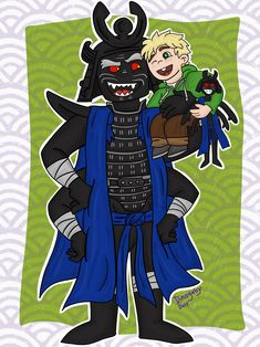 """Garmadon and Little Luh-loyd. This was sort of inspired by @amonoff 's super adorable fanfic """"Ah, Memories"""". Go read it because it's so cute!  I wish Garmadon could have spent more time with Little Lloyd and that this cute adorbs family didn't have to split. *cries*"""