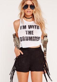 With The Drummer Slogan Crop Top White