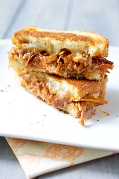 """Those four little words your family will love to hear...""""Pulled Pork Grilled Cheese."""" This gorgeous sandwich, courtesy of Smells Like Home, makes leftovers luscious. So good, I can almost taste it now! Click through for the recipe"""