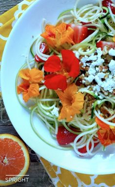 Cut down on calories by swapping out traditional pasta for Healthy Zucchini Noodles.