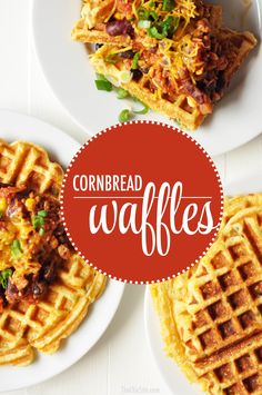 These Cornbread Waffles are filled with cheddar, jalapeño and scallions. They are the perfect companion for your next pot of chili!