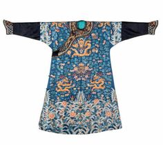 A blue-ground embroidered court 'dragon' robe, jifu, 19th century