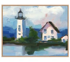 Lighthouse Greeting Framed Canvas | Pottery Barn