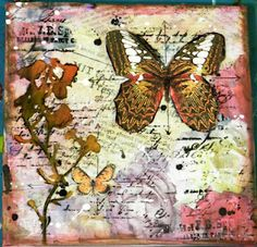 Mixed media art on canvas by Solange Marques (with directions & pictures - flowers on left are a die-cut)