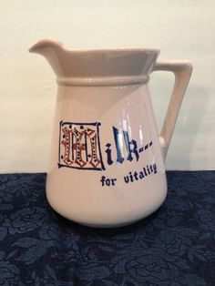 Milk For Vitality Pitcher, 2 Quart Large Classic Pottery Pitcher, Clay Pottery, Vintage, 1950s, Under Glaze Lettering, Made In USA, 2 Quart by Sunshineoftreasures on Etsy