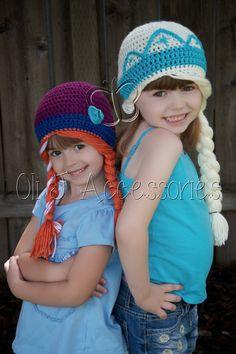 Frozen Inspired Girls' Elsa & Anna Beanie Set by OliJAccessories, $50.00