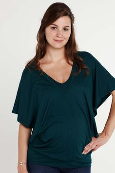 Green maternity and nursing top with butterfly sleeves