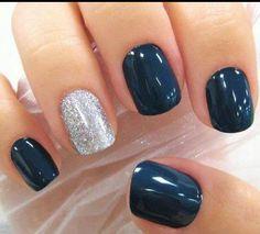 Navy blue & glitter nails