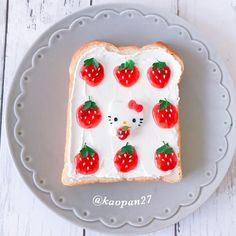 Hello Kitty & strawberries toast art by kaori.kubotaHokkaido (@kaopan27) ╰(*´︶`*)╯♡