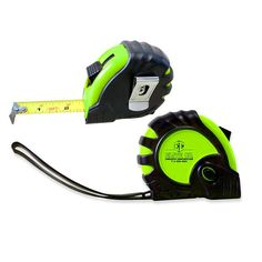 """T25TM – 10' Foot Tape Measure. 10 foot pull and press to lock tape measure, comfortable rubberized finish. Wrist strap and belt clip built-in. Tape is 1"""" scale with 1/16"""" increments. A very popular promo for construction companies, builders, material suppliers, renovators, and home care companies. Promotional Products."""