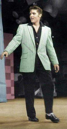 Elvis wearing his green coat, 1956
