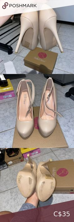 Bella Marie Nude closed toe pump Gently worn nude closed toe pump. Size 6. In 9/10 condition. No scuffs in material. Optional straps for around the ankle included. Second pair of pegs for bottom of the heels also included. Bella Marie Shoes Heels Pink Shoes, Shoes Heels, Pumps, Black Puma, Black Nikes, Crystal Shoes, Black Strappy Heels, Nike Running Shorts, Pointed Toe Heels